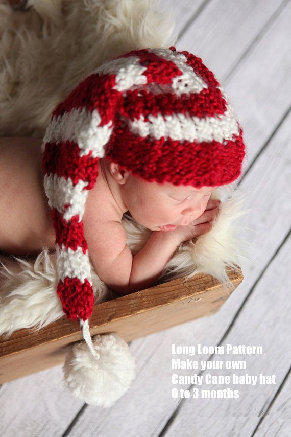 Candy cane baby hat loom pattern pdf | crochet | Pinterest