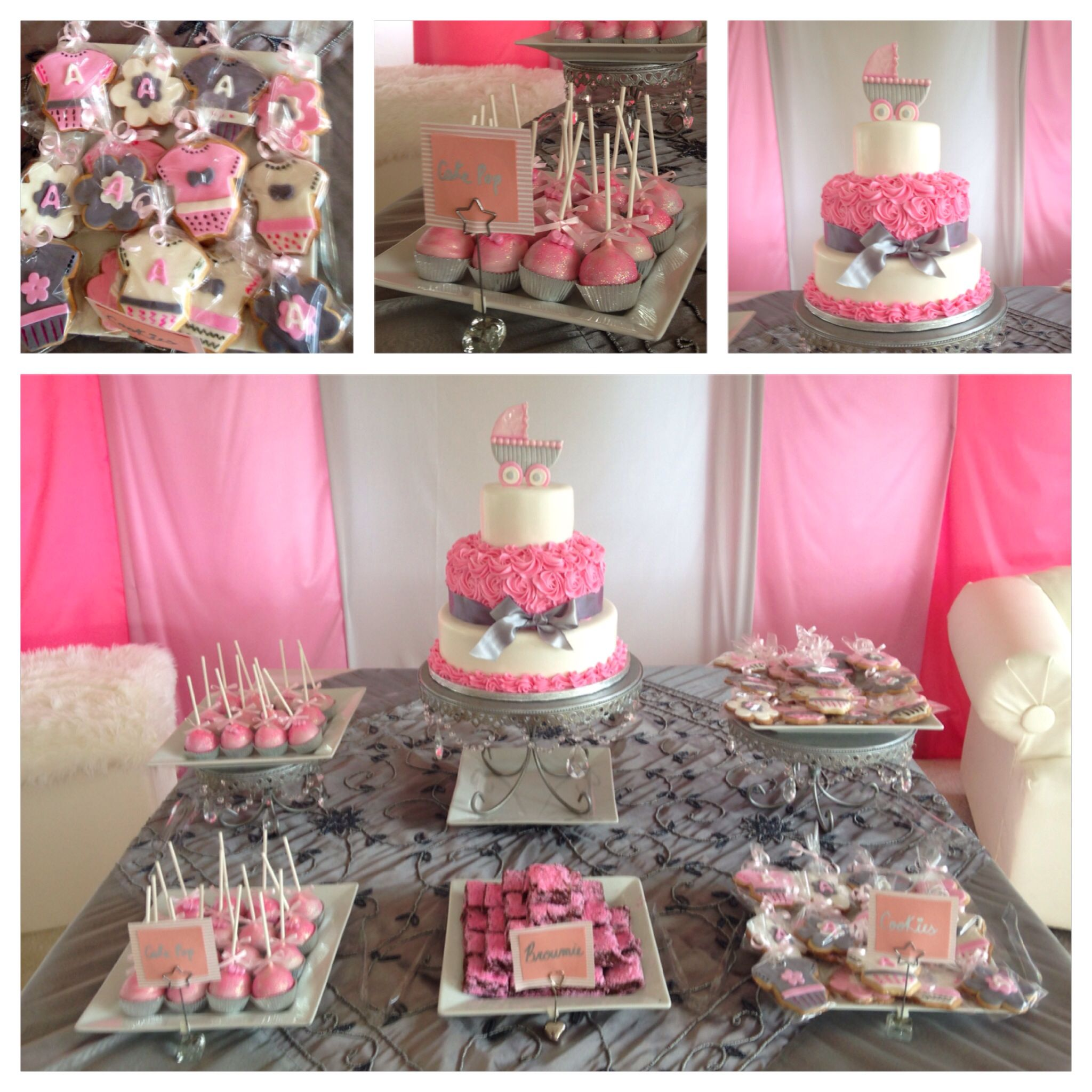 Girl Baby Shower, Cake Table, Candy Bar.