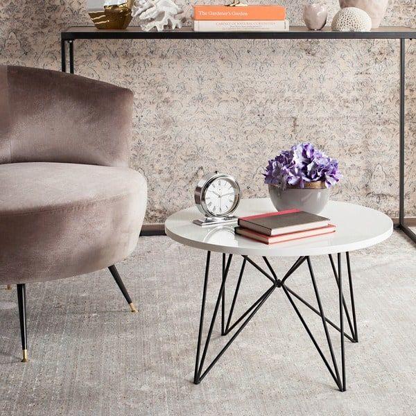 Safavieh Mid-Century Modern Vida Lacquer White / Black End Table - designer couchtische modern ideen