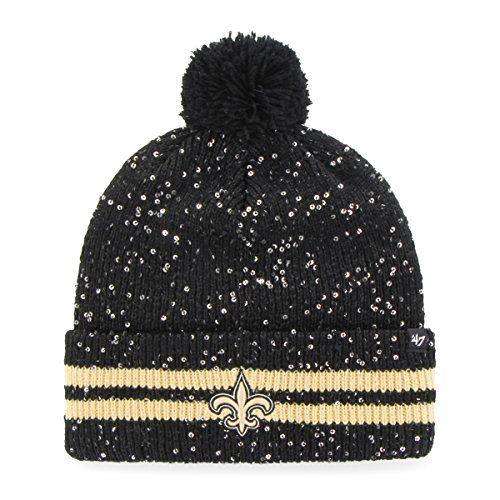 NFL New Orleans Saints Womens 47 Amelia Cuff Knit Beanie with Pom Black One  Size    For more information d15b83f65