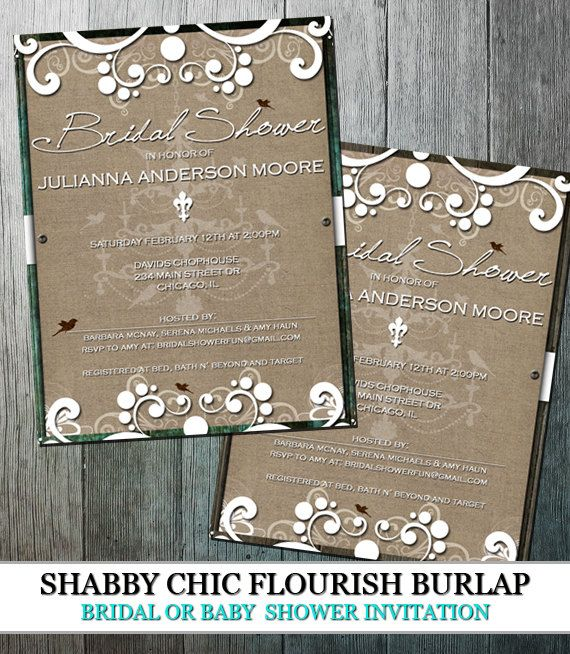 Rustic bridal shower shabby chic bridal or baby shower invitation rustic burlap bridal shower shabby chic with by oddlotpaperie filmwisefo