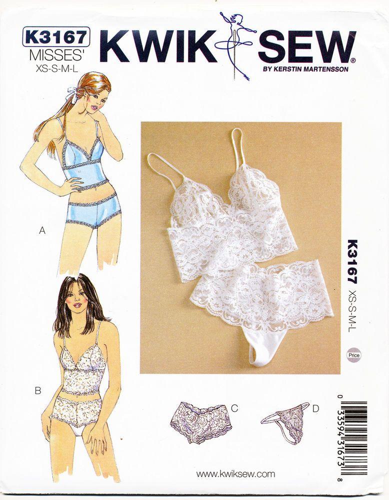 Kwik sew sewing pattern 3167 misses 8-18 lingerie panties thong ...