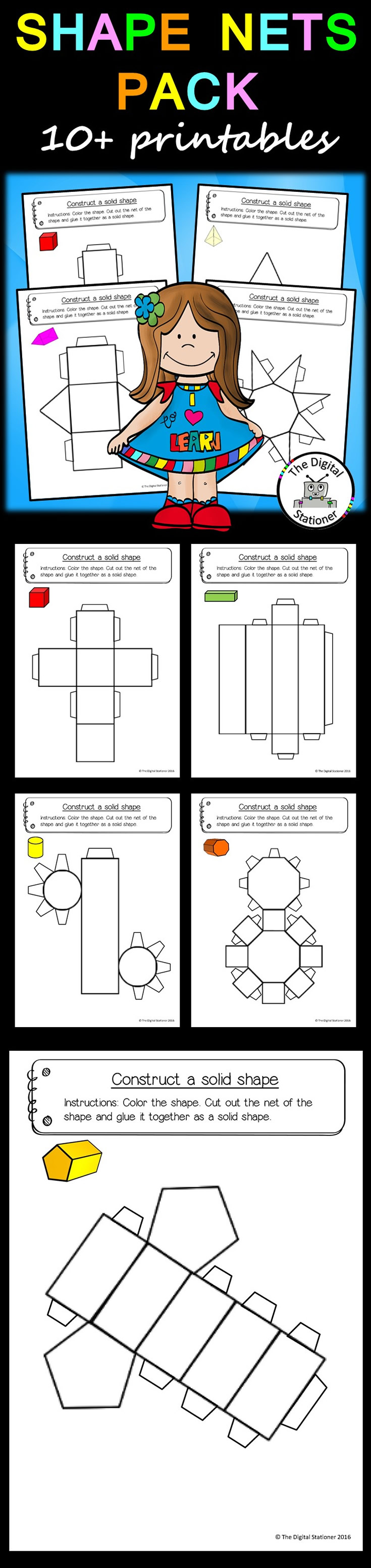 Shape Nets 3d 15 Printable Net Templates Maths Geometry