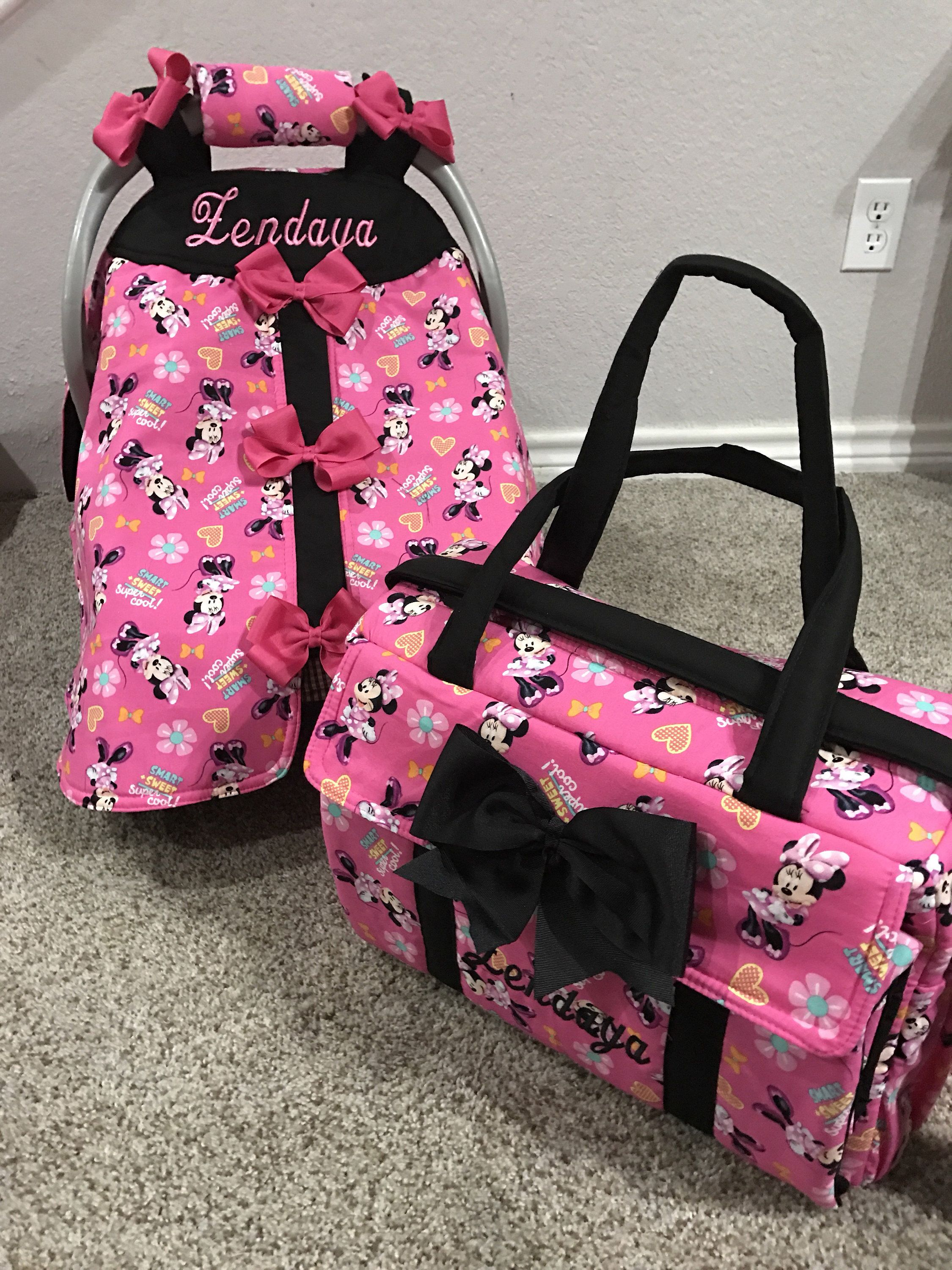 Minnie mouse diaper bag and car seat canopy custom made ...