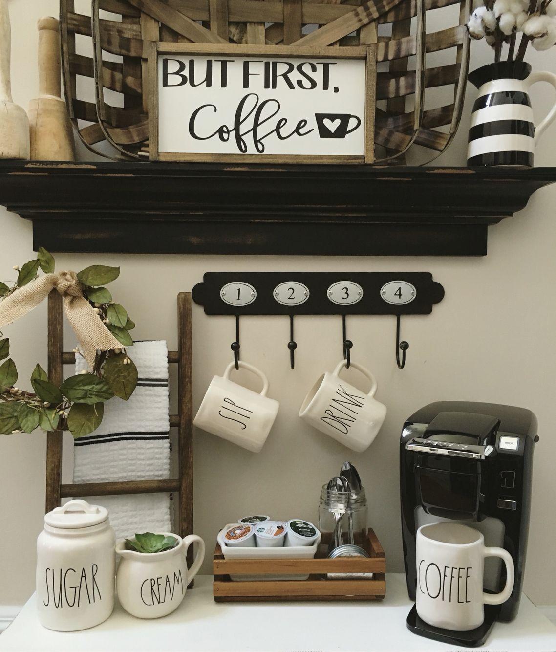 Coffee bar , Farmhouse Decor, Coffee Station, mini ladder