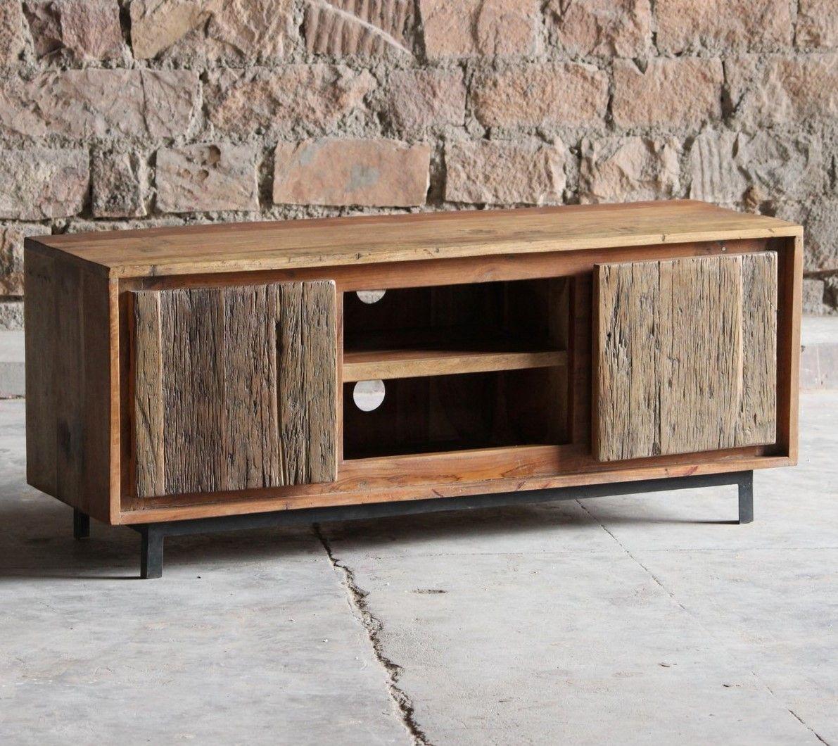 meuble tv salon industriel bois recycle