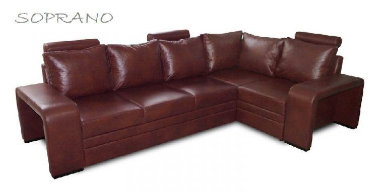 Soprano Luxury Italian Real Leather Corner Sofa Bed Maroon Dark Red
