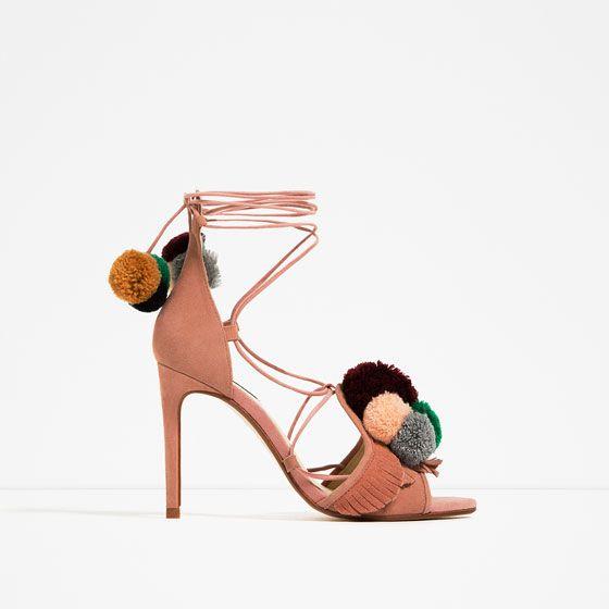 Sandalia Tacón Piel Mujer PomponesZapatos Sandalias Zara 4ALj5R