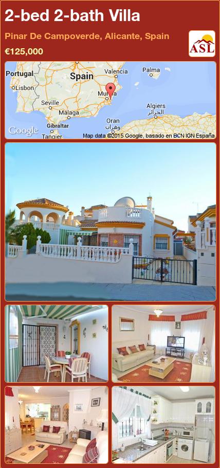 2-bed 2-bath Villa in Pinar De Campoverde, Alicante, Spain ►€125,000 #PropertyForSaleInSpain