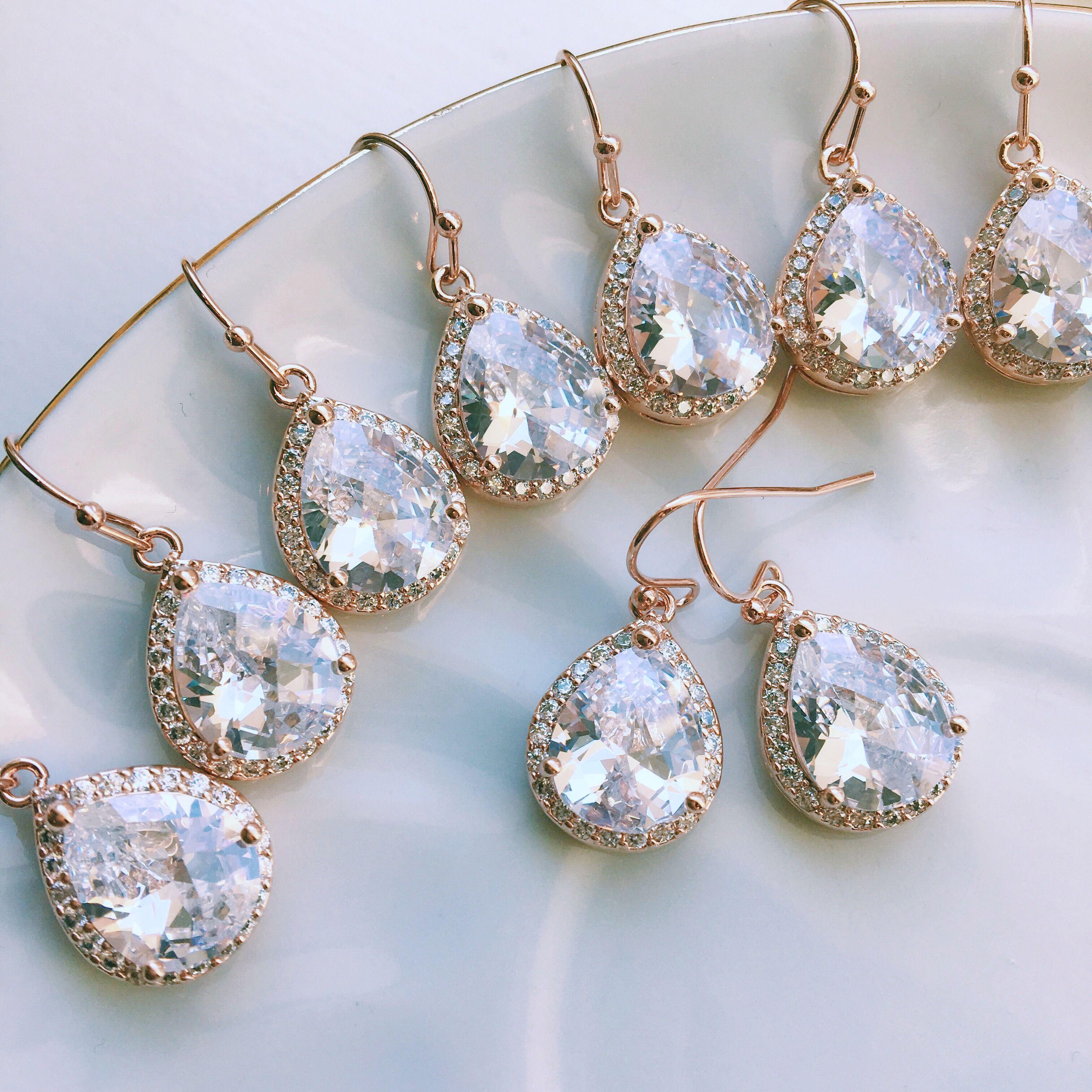 FLASH SALE Crystal Teardrop Earrings Rose Gold, Gold