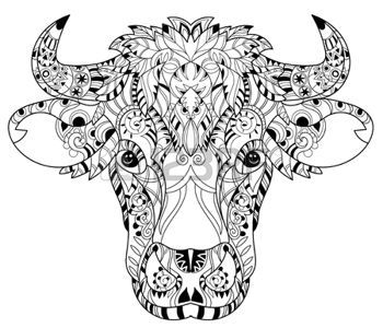 Coloring Pages Print Hand Drawn Doodle Outline Cow Head Decorated With OrnamentsVector Zentangle IllustrationFloral Ornament