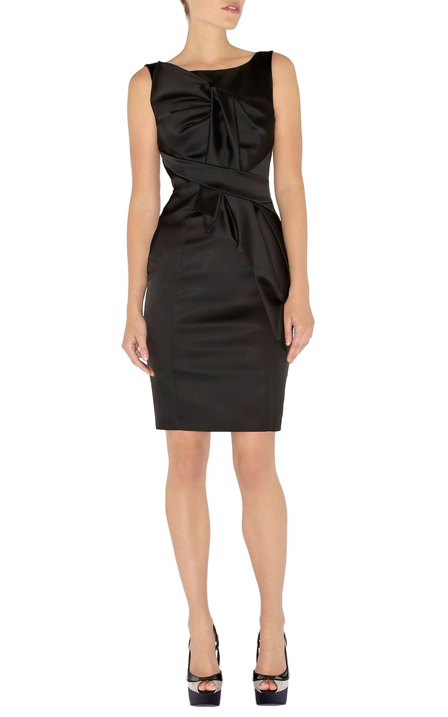 Karen Millen Pencil Folded Satin Dress Black