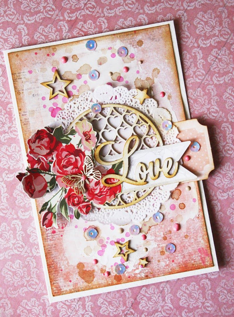 Скрапбукинг открытка люблю тебя