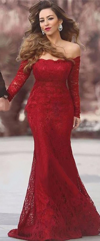 Wonderful lace offtheshoulder neckline mermaid formal dresses