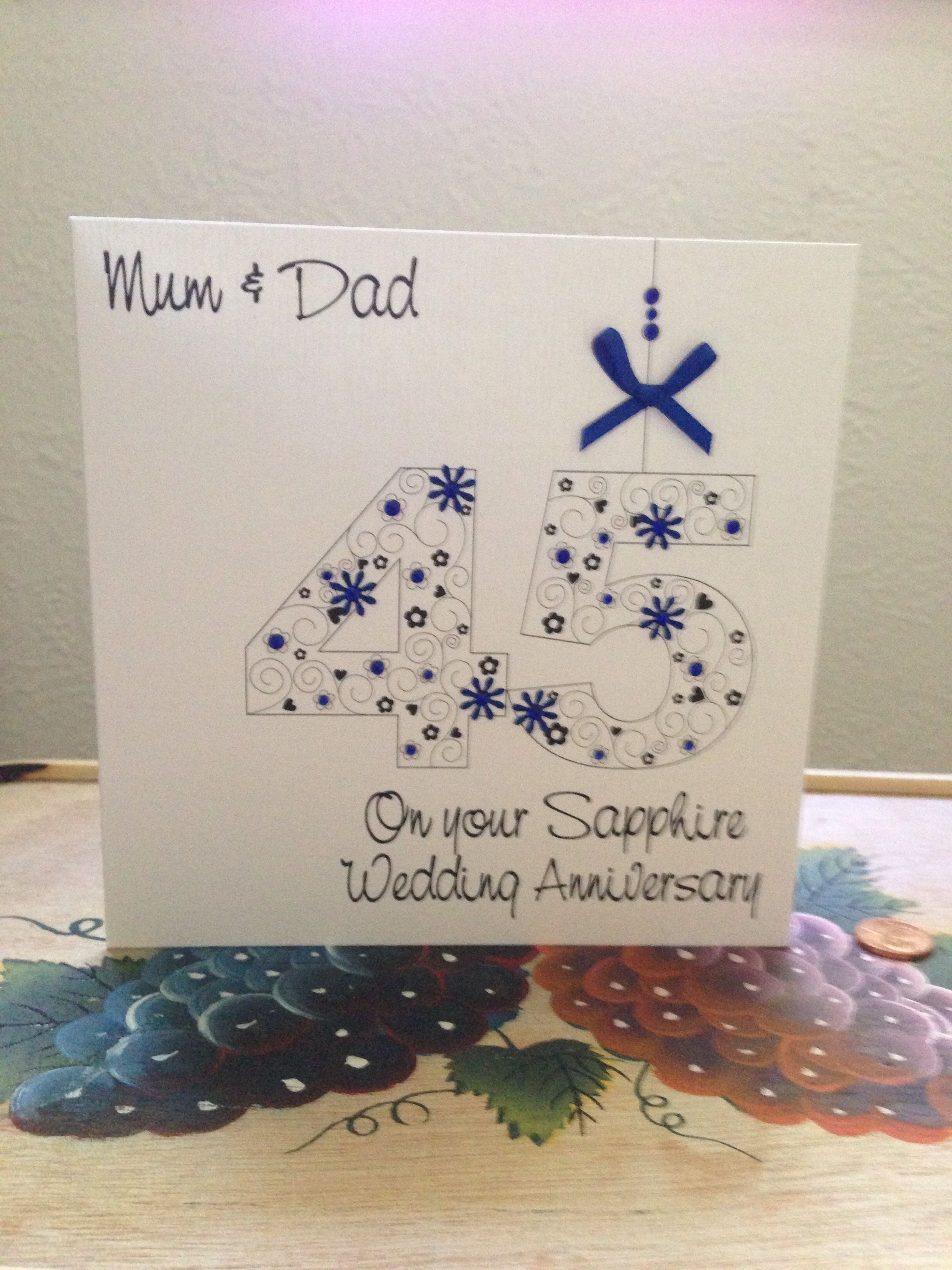 45th wedding anniversary card from our son 45th wedding