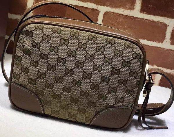 aaf4e5227f77f1 Gucci Bree Original GG Canvas mini Messenger Bag 387360 Brown ...