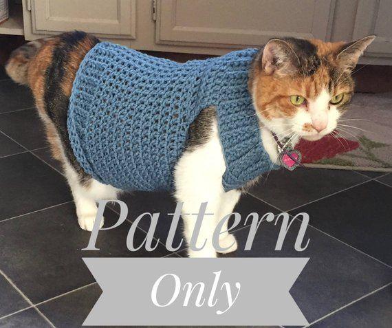Cat Sweater Pattern Cat Clothes Pattern Crochet Pattern Pet