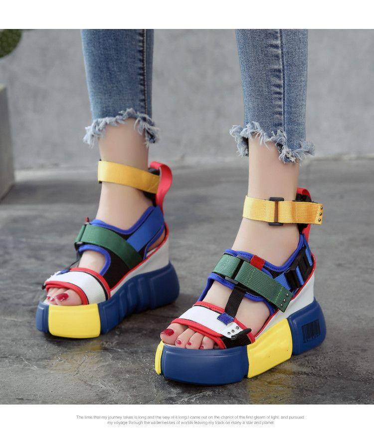 Swonco Platform Sandals Women Summer Shoes 2019 Female Casual Shoes Wedge High Top High Heel C Casual Summer Sandals Summer High Heels Sandals Platform Sandals