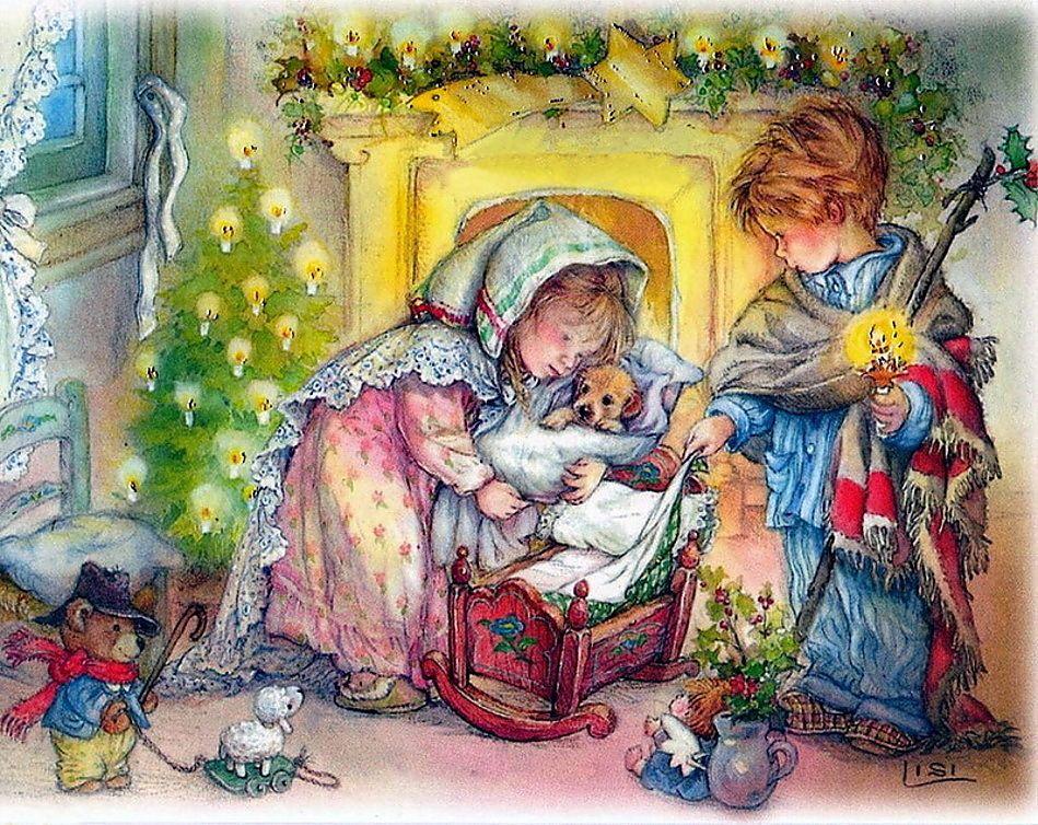 Открытки на рождество дети