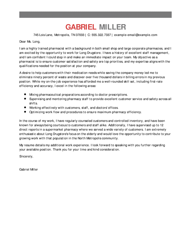 Best Pharmacist Cover Letter Examples Livecareer Create  Home