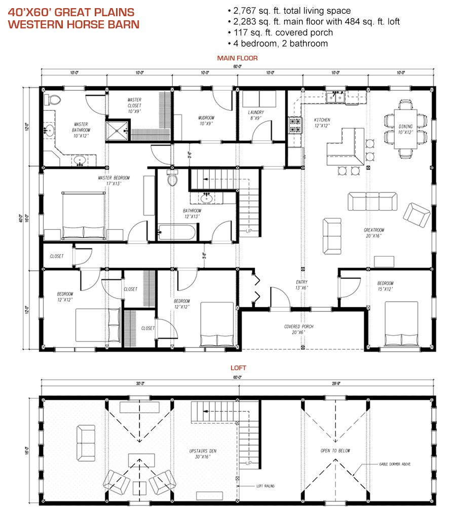 40x60 floor plan pre designed great plains western horse for Horse barn layouts floor plans