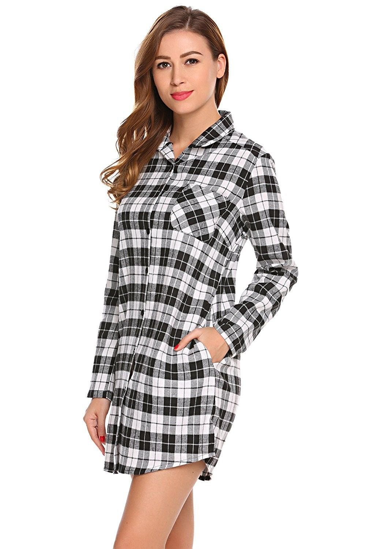 ee7ae376d6 Womens Boyfriend Long Sleeve Sleep Shirts Button Down Tops Cotton Sleepwear  - Black White - C01883X33UU,Women's Clothing, Lingerie, Sleep & Lounge, ...