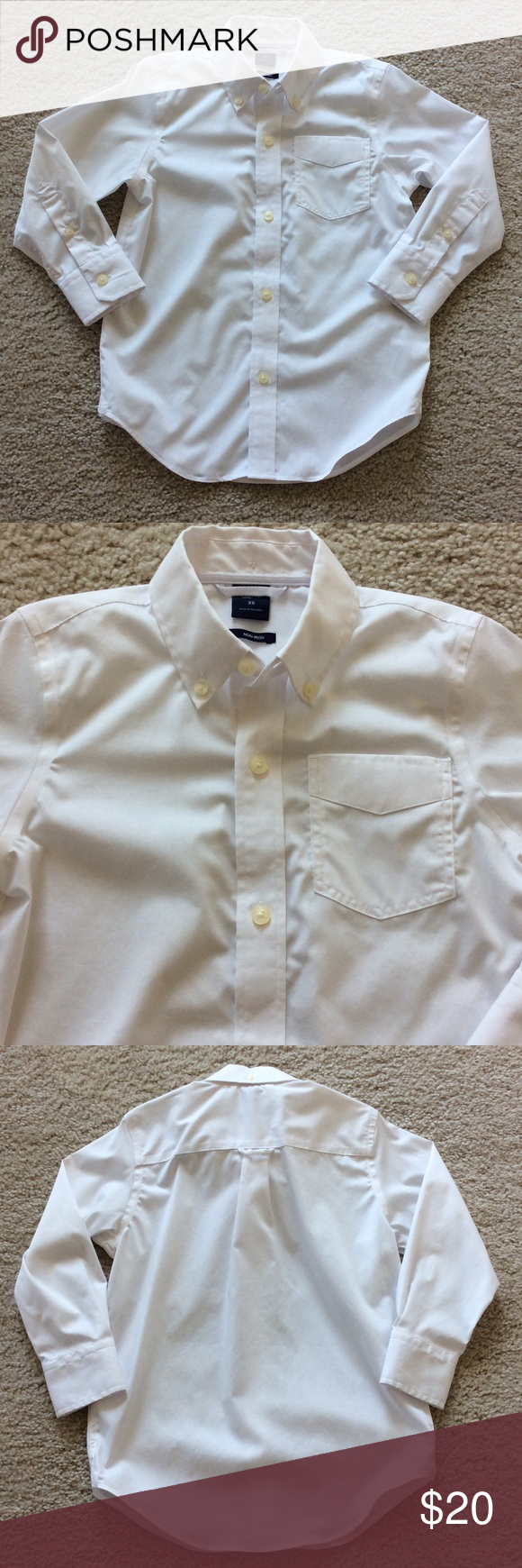 👫GAP Kids Non-Iron Solid Poplin Shirt GAP Kids Non-Iron Solid Poplin Shirt. White. Button front. 100% cotton. Size XS, which is size 4/5 according to GAP size chart. Purchased this as a 'just in case' shirt and was never worn! NWOT, never worn. GAP Shirts & Tops Button Down Shirts