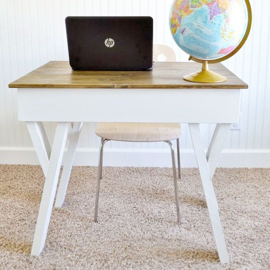 Create a Farmhouse Modern Desk with an open front cubby design
