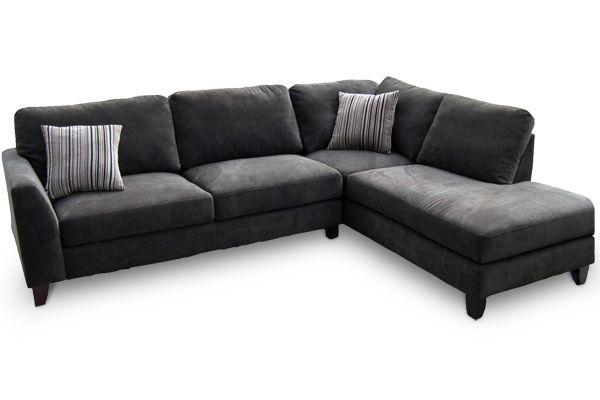Grey Microfiber Sectional Sofa W Chaise Dark Grey Sectional