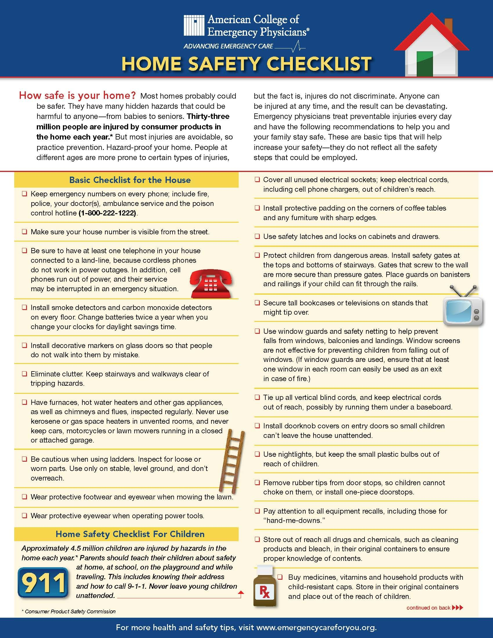 Home Safety Checklist (page 1 of 2). Home safety