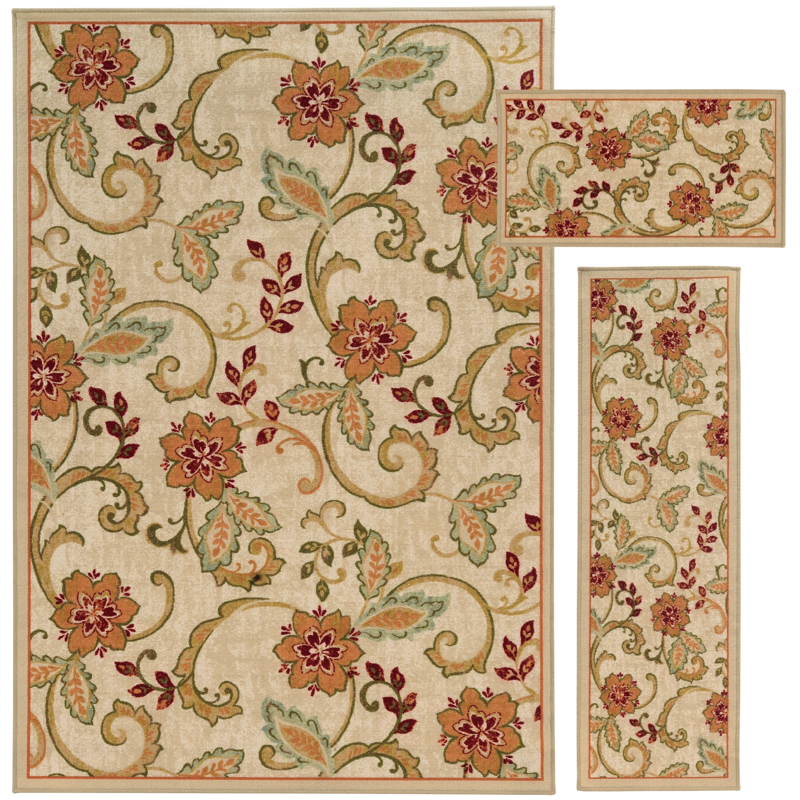 Floral and Vine Beige/ Rust 3-piece Set - Overstock Shopping - Great Deals on Style Haven 5x8 - 6x9 Rugs
