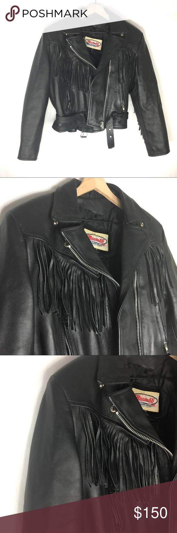 Fringe Leather Moto Heavy Bikers Jacket Fringe Leather