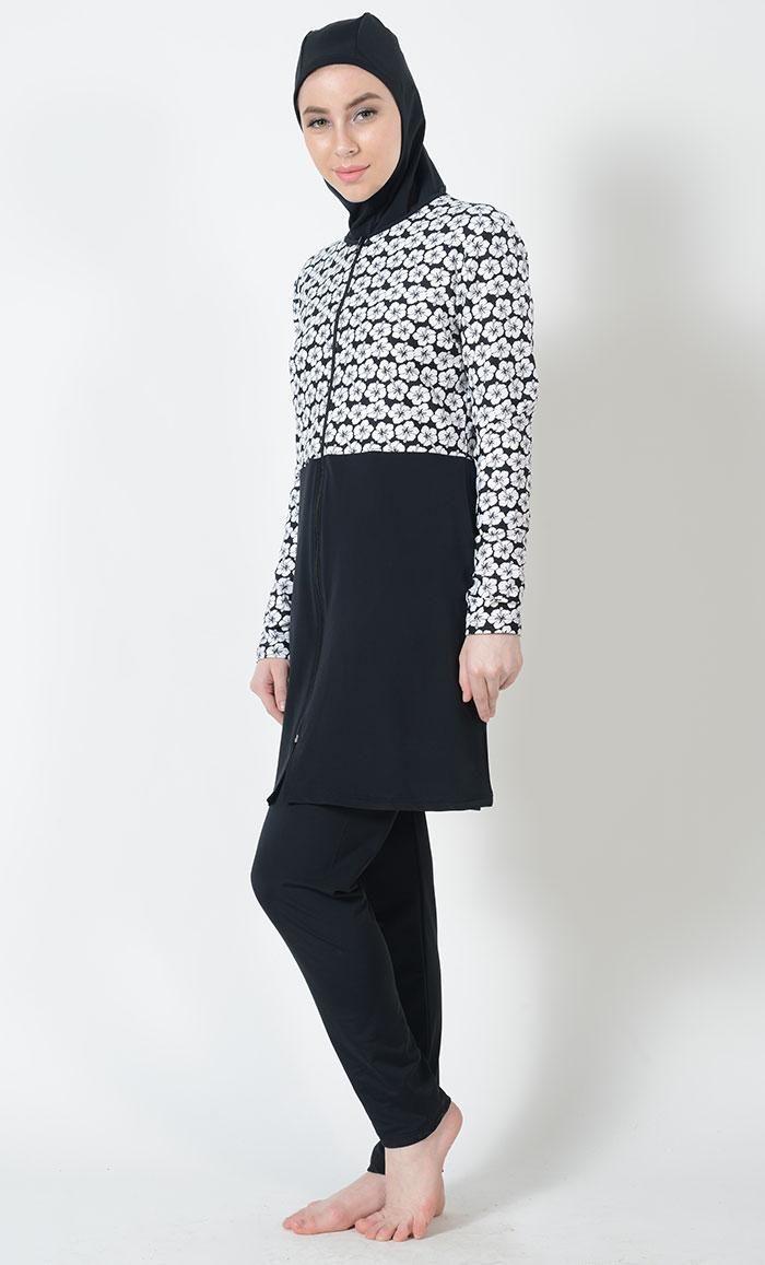 7418dec77a8ac #Kilam - #Kilam Hibiscus Print Swimwear Burkini-Final Sale - AdoreWe.com