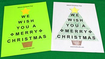 Print the Easy Advent Christmas Tree on green paper for fast, fun and easy or on white paper for a version to color.