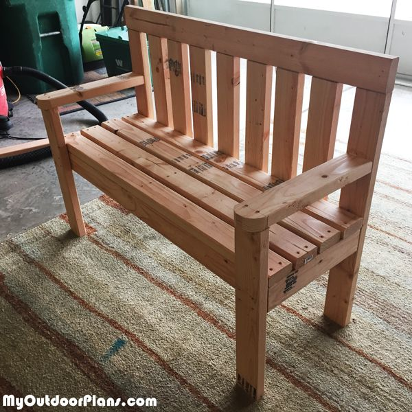 Diy 2 4 Wood Garden Bench With Images Woodworking Projects Diy