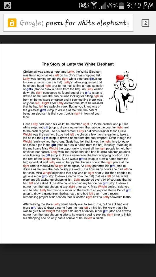 Funny White Elephant Gift Exchange Poem | Poemdoc.or