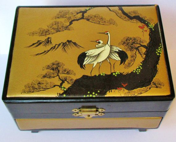 Vintage Japanese Music Box Crane Jewelry Box Tone Movement Music