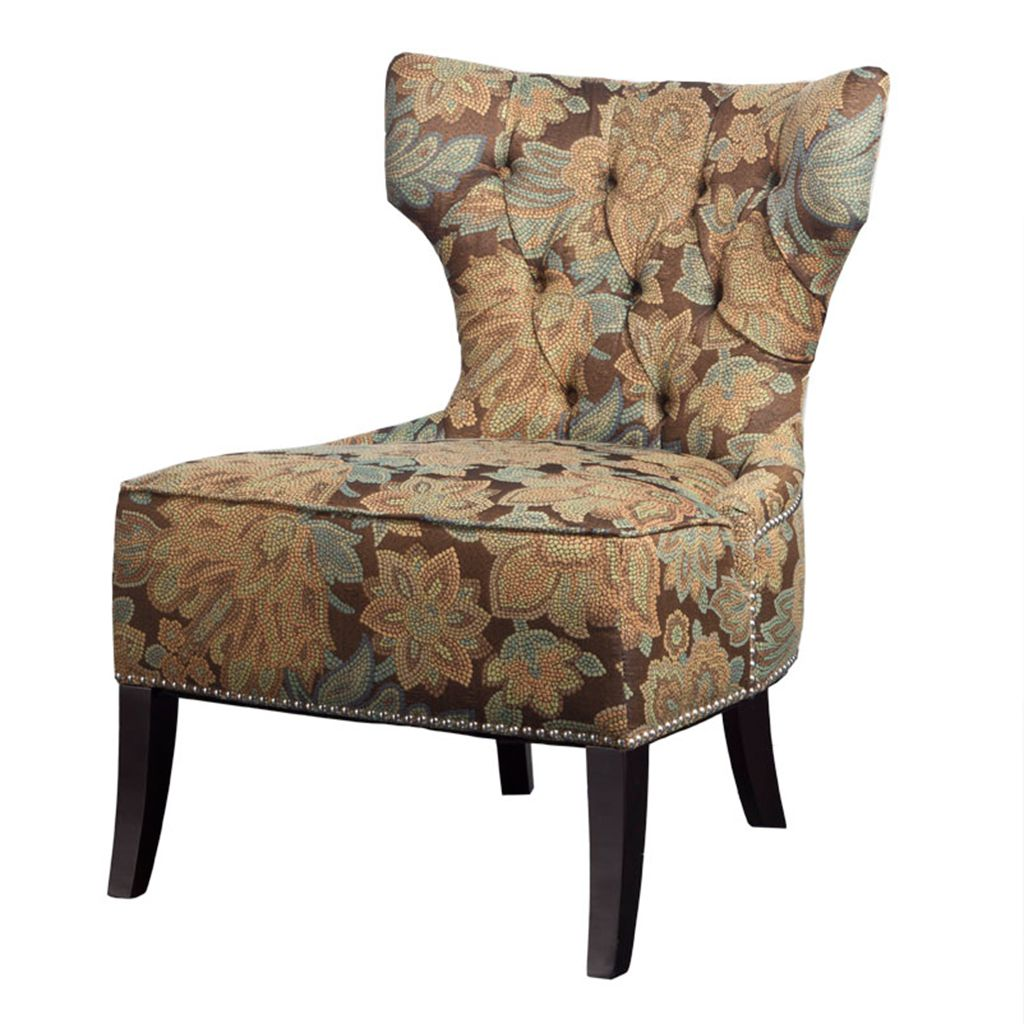 Madison  Classic features of button tufted seat back, traditional espresso legs mixed with modern artistic elements.