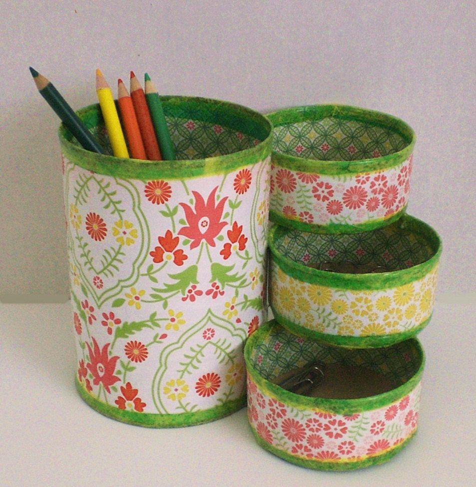 Desk Organizer Pencil Holder Made From Recycled Cans Recycle Cans Tin Can Crafts Recycled Crafts
