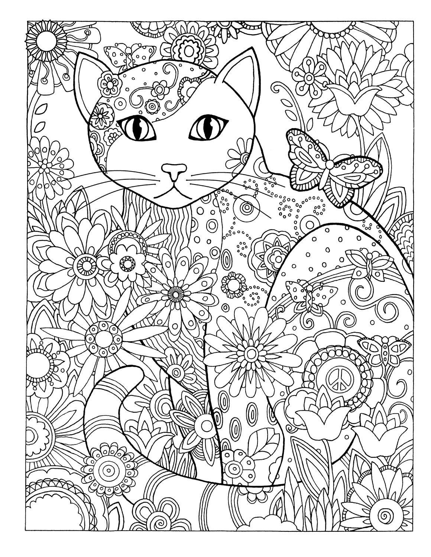 Ausmalbilder Katzen : 13_flowers Jpg Adult Coloring Pinterest