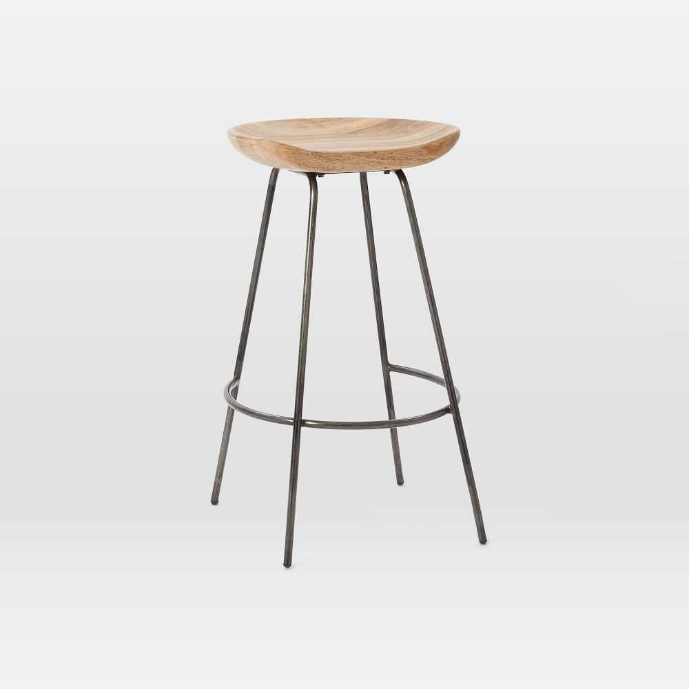 <p>Our Alden Bar + Counter Stools pair a rustic carved wood bucket seat
