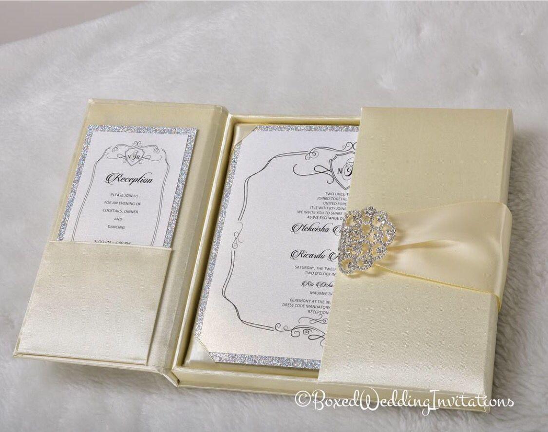 ✨Beautiful silk gatefold + invitation card and glitter trim for a ...