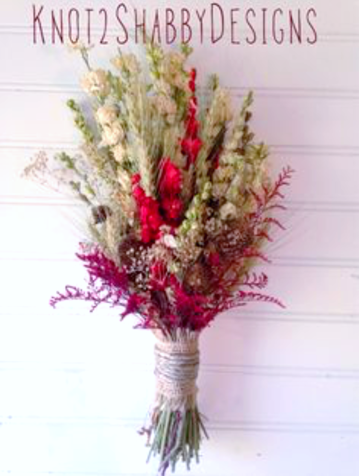 Barn red and chocolate dried bridesmaids bouquet boutinerres
