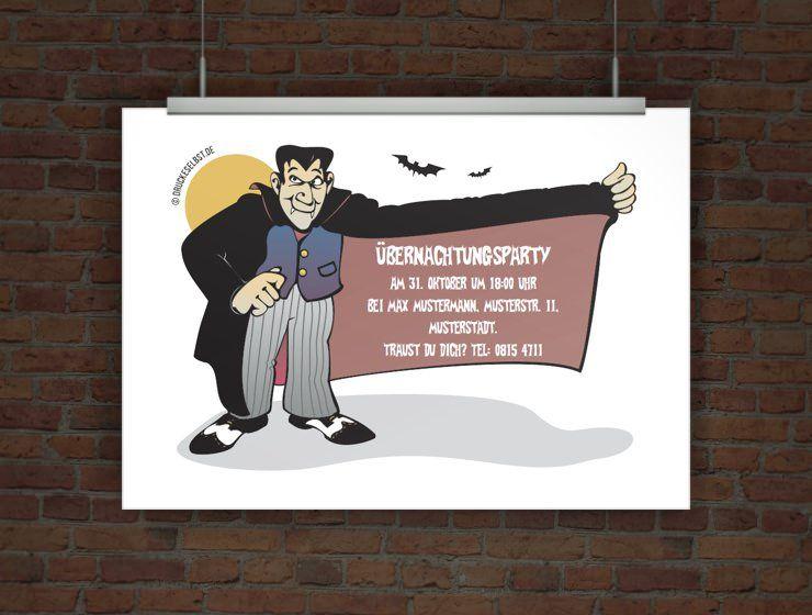 Originelle Einladung Ubernachtungsparty Mit Dracula