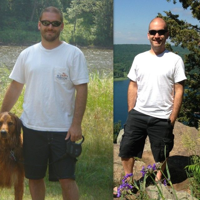 """""""This is a partial before after photo of me.  I couldn't find any photos of me at my highest weight (185 in college).  On the left I was about 170 and today I am 145. But thanks to Maria, I am the healthy and happy person I am today."""" Craig"""