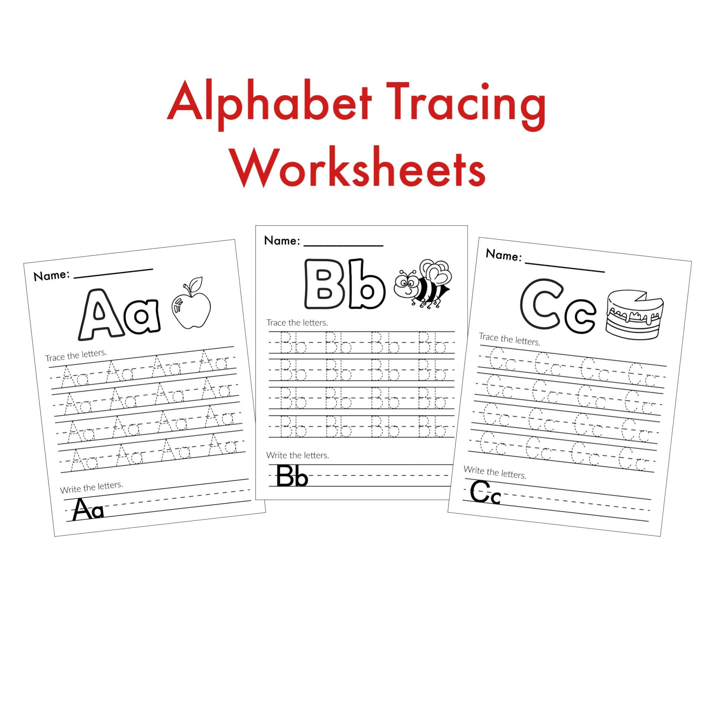 Alphabet Worksheets Tracing Letters Preschool Learning In
