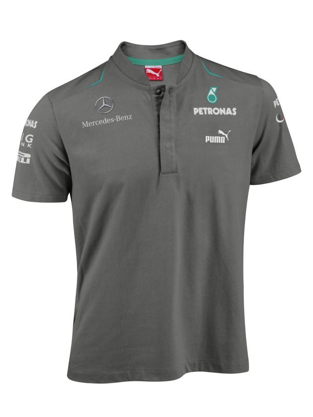 men s team polo shirt grey 100 single jersey cotton petronas green accents mercedes amg. Black Bedroom Furniture Sets. Home Design Ideas
