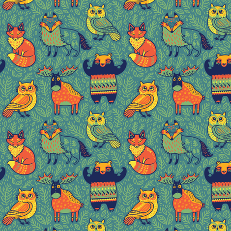 Colorful Fabrics Digitally Printed By Spoonflower Forest Animals