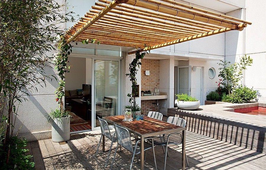 Terraza con toldo de bambú Ideas para el hogar Pinterest