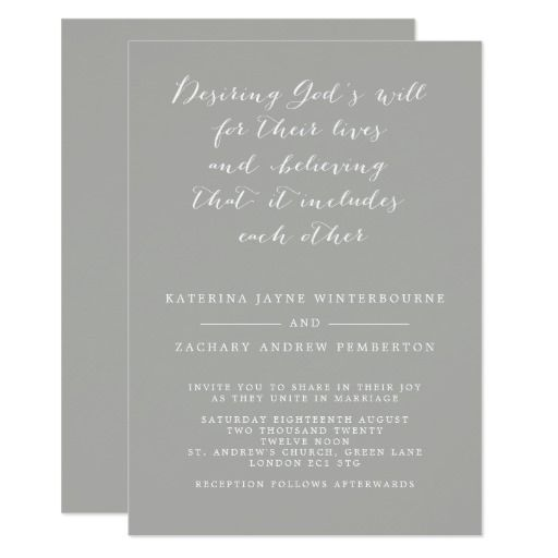 Gallery Minimalist Wedding Invitations: Minimalist Christian Gray And White Script Wedding